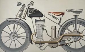 "Konrad Klapheck: ""Autobiographie"", 1983, Öl auf Leinwand, 229 x 370 cm, Foto Michel Nguyen, Prada Collection, Mailand, © Konrad Klapheck, VG Bild-Kunst, Bonn 2013"