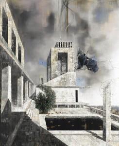 """Michael Kunze: """"Schwarzorange/Asymptote"""", 2011, Öl auf Leinwand, 290 x 230 cm, Privatsammlung, Foto Jochen Littkemann"""